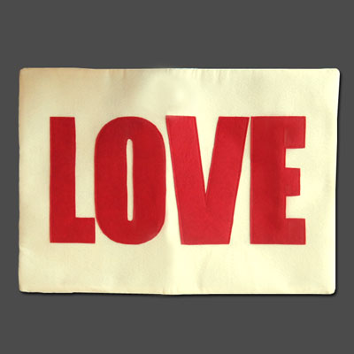 Applique Love Pillow Cover