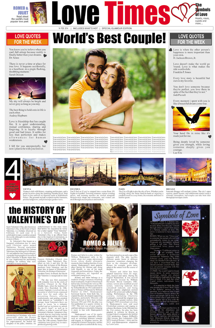 The Love Times Personalised Newspaper Rs 499 Birthday