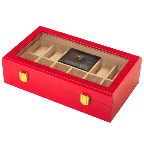 Jewellery And Watch Organiser Red