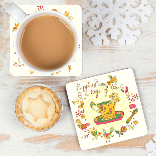 Happiness Is Tea Coasters Set Of Two