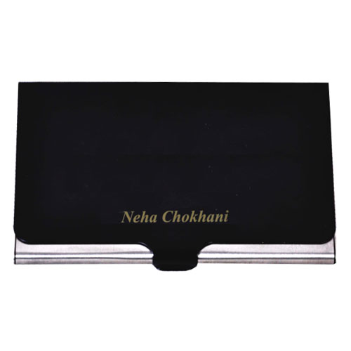 Engraved Visiting Card Holder Dark