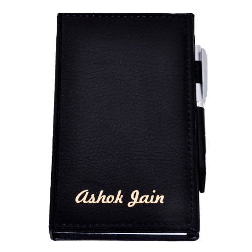 Compact Leather Notepad With Name