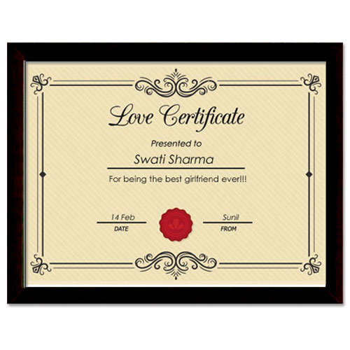 Love Certificate With Frame Framed Romantic Certificate
