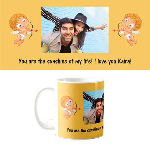 Wedding Anniversary Gifts For Sister And Brother In Law India : Cupid Photo Mug Cupid personalised mug - Rs.180 : Gifts ideas in India