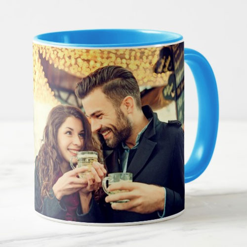 Blue Personalised Photo Mug