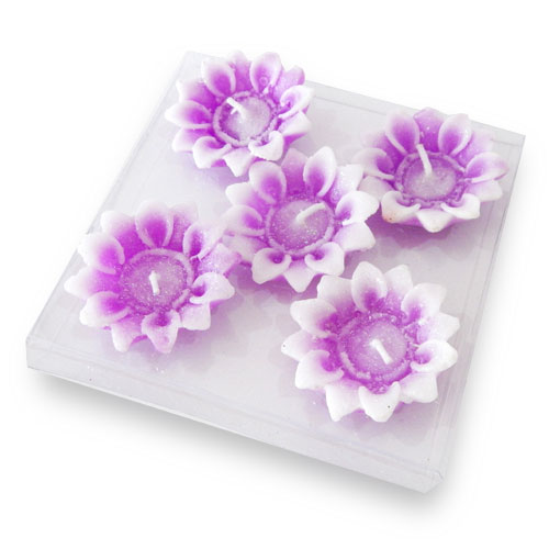 Flowers Floating Candles Set Of Five