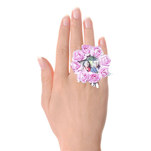 Pink Flowers Photo Ring