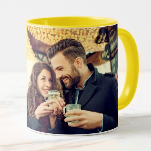 Yellow Personalised Photo Mug