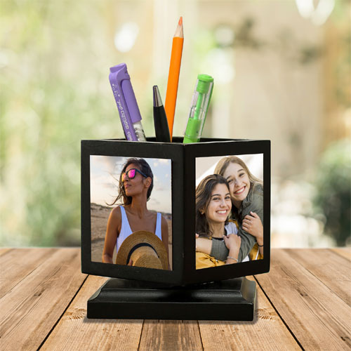 Rotating Personalised Pen Stand - photo penstand gift - Rs.575 Buy online gifts for birthday, anniversary