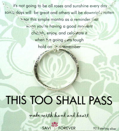 Wedding Gifts For Sister And Brother In Law In India : ... Too Shall Pass - pendant and chain - Rs.1390 : Gifts ideas in India