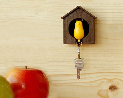Sparrow Birdhouse Keychain