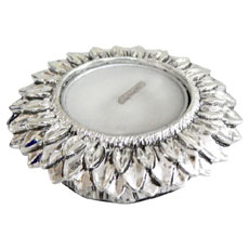 Silver Flower Diya Holder