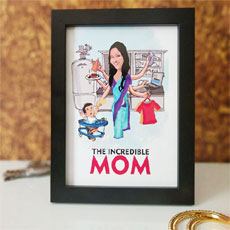 The Incredible Mom Personalized Caricature
