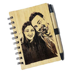 Engraved Sketch Wooden Diary