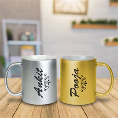 Gold And Silver Name Mugs Set Of Two
