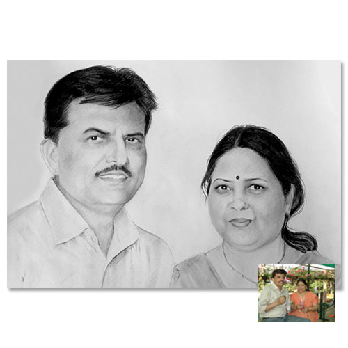 Couple Charcoal Portrait