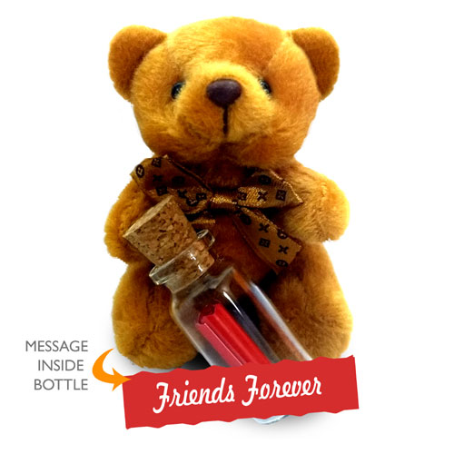 Teddy With Friends Forever Message Bottle