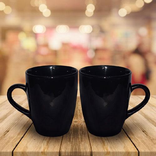 Slim Black Ceramic Mug Set of 2