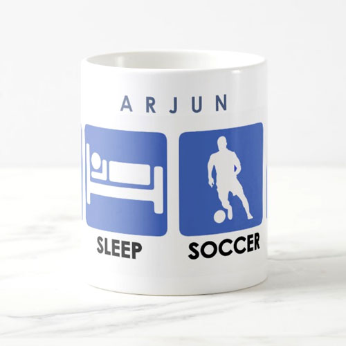 Eat Sleep Soccer Repeat Name Mug
