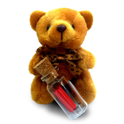 Teddy With Christmas New Year Message Bottle