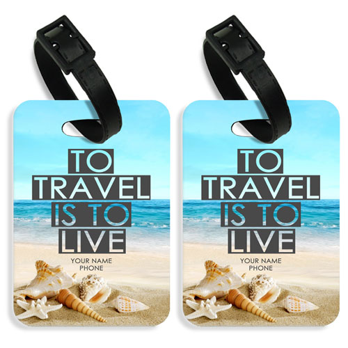 Personalised Travel To Live Luggage Tags Set