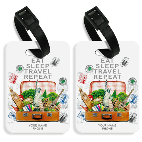 Personalised Eat Sleep Travel Luggage Tags Set