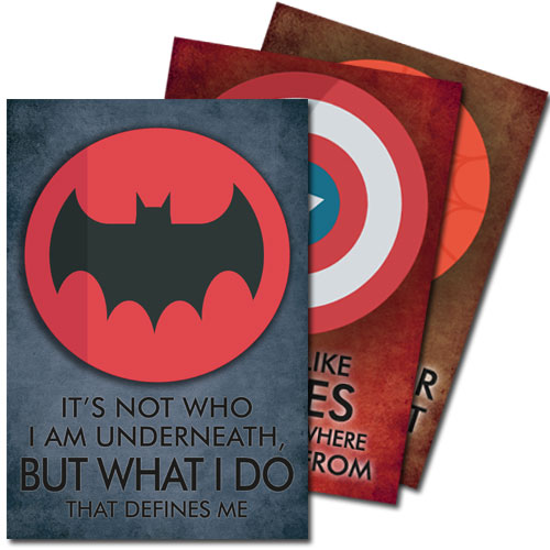 Superhero Quotes Posters Set