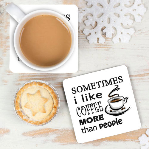 Like Coffee More Than People Coasters Set Of Two