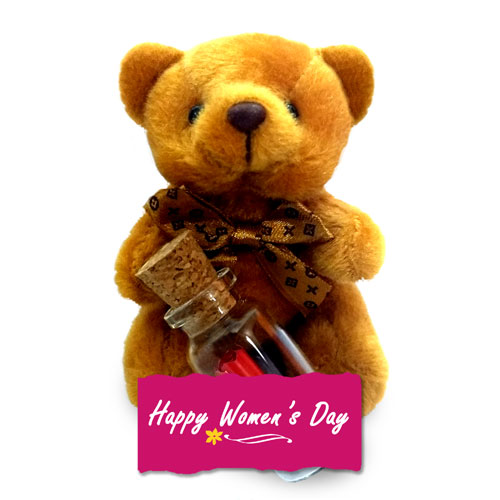 Womens Day Teddy With Message Bottle
