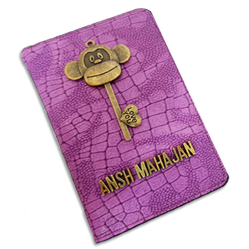 Purple Monkey Personalised Passport Case
