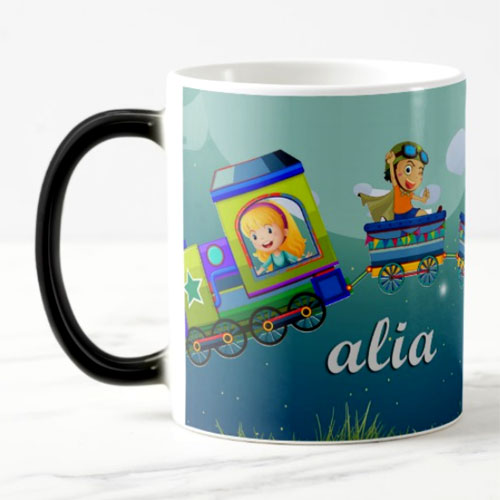 Kids Flying Train Personalised Magic Mug
