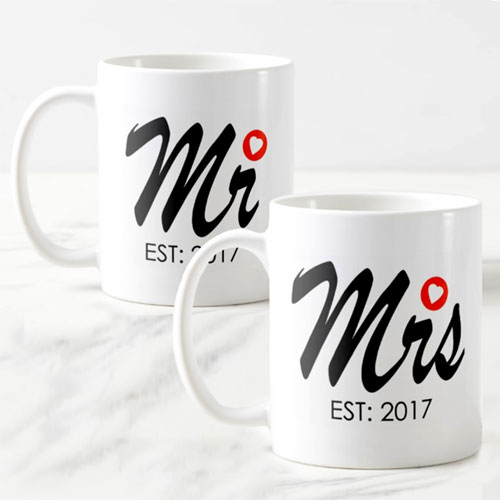 Mr And Mrs Personalised Mug Set