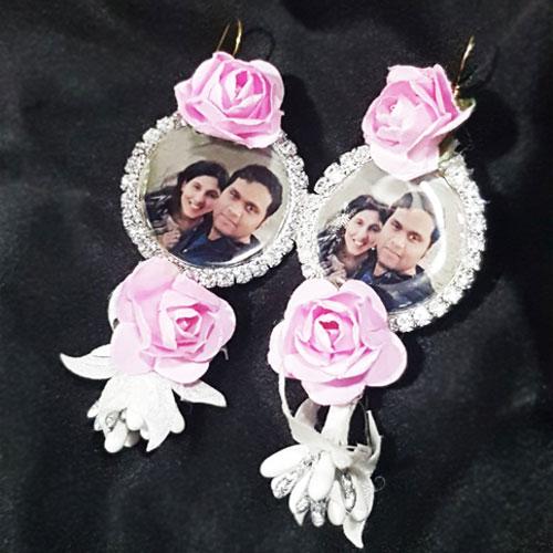 Pink Flowers Photo Earrings Set