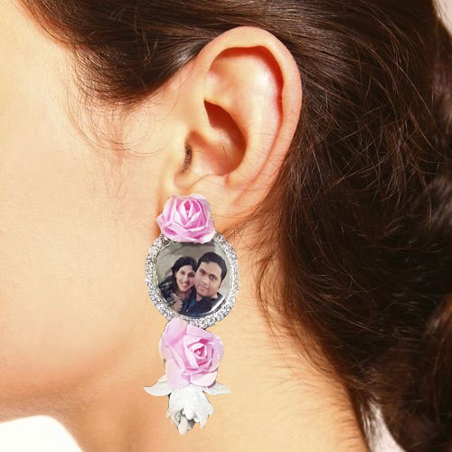 Pink Flowers Photo Earrings Set