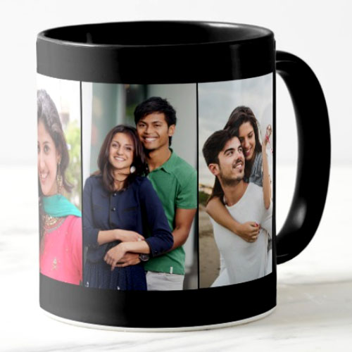 Black Personalised Photo Mug