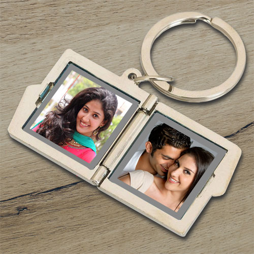 Personalised Two Frame Photo Keychain