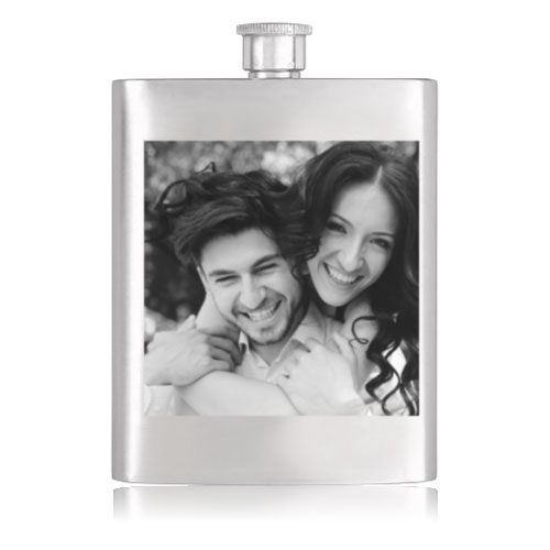Personalised Black And White Hip Flask