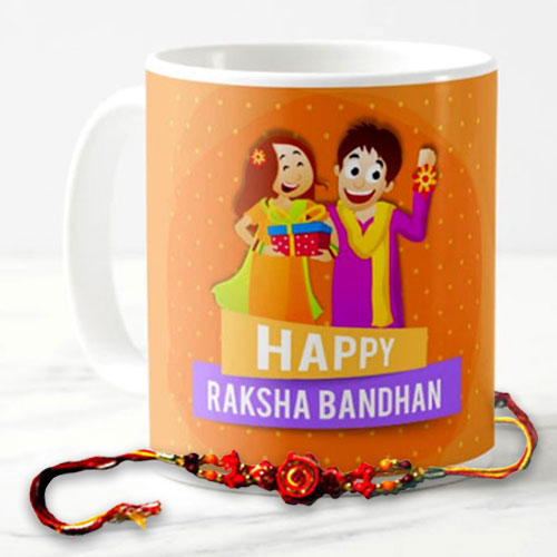 Happy Raksha Bandhan Mug With Rakhi