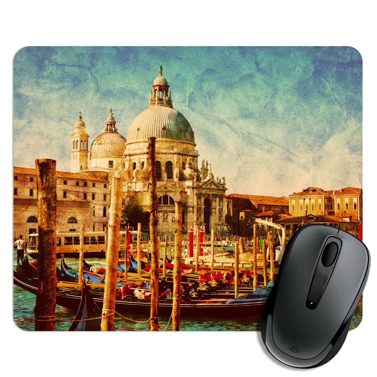Vintage City And River Mouse Pad
