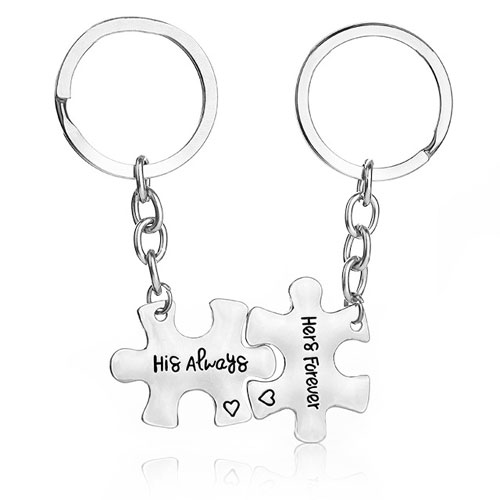 Her And His Puzzle Keychain