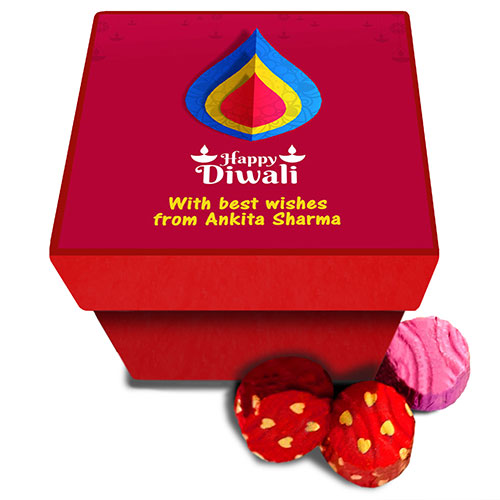 Personalised Red Diwali Chocolates Box