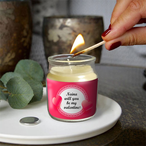 Personalised Be My Valentine Candle