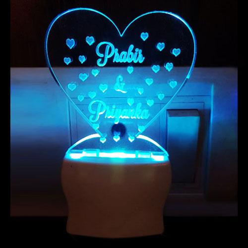 Heart Shape Personalised Night Lamp