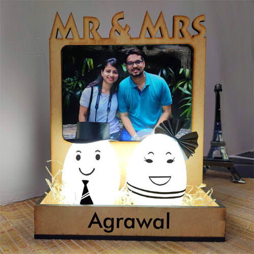 Happy Married Couple Photo Lamp