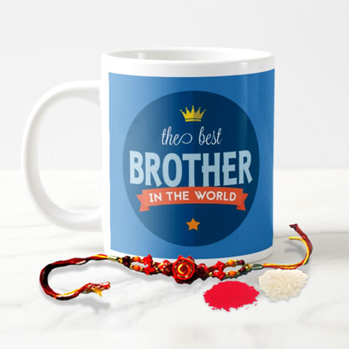 Brother Mug With Rakhi And Roli Chawal