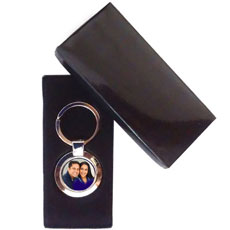 Round Metal Photo Keychain