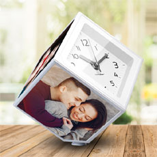 Personalised Cube Photo Frame With Clock