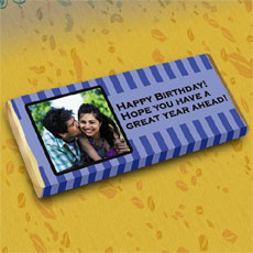 Blue Personalised Photo Chocolate