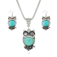 Turquoise Owl Pendant And Earring Set