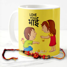 Love You Bhai Mug With Rakhi